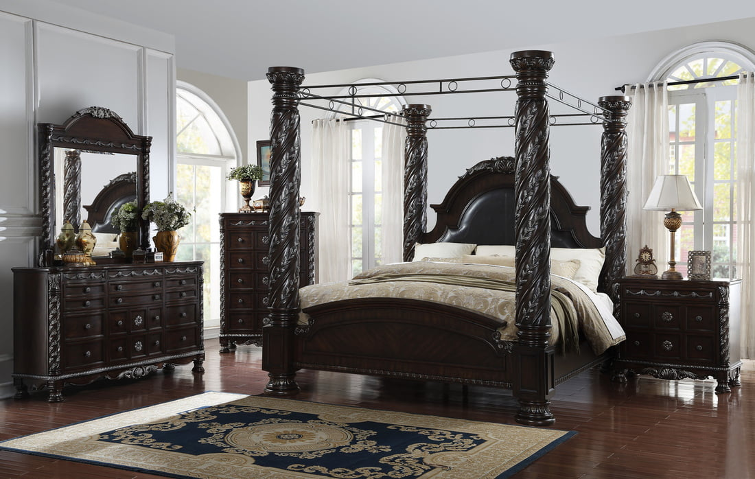 Picture of: A O Gt Corinthian Queen Canopy Bedroom 5 Pc Set
